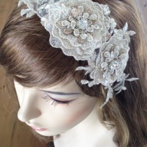 Bridal Champagne Lace Headpiece