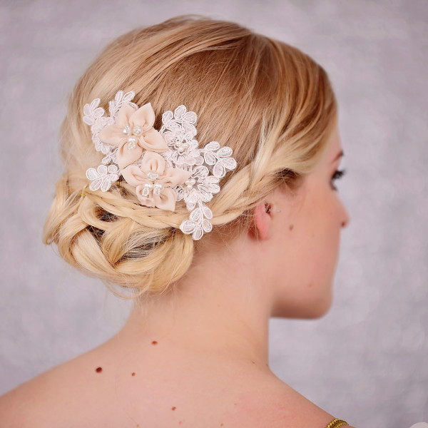 Bridal Lace Hair Comb with Peach Flowers