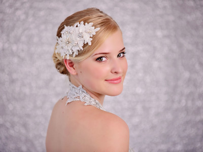 Bridal White Lace and Flower Hairpiece