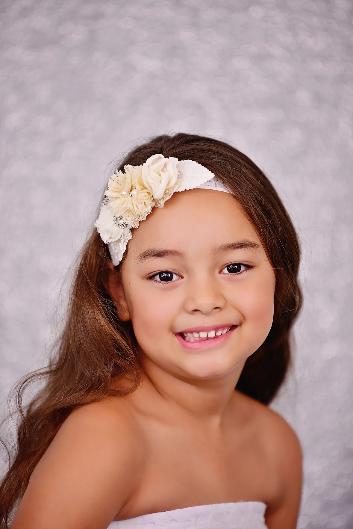 Flower Girl Headband White