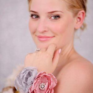 Flower Wrist Corsage, Pink and Grey