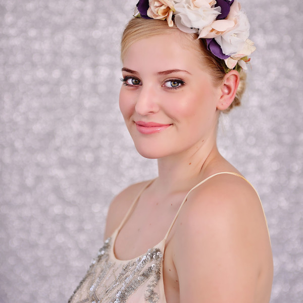 White, Purple and Pink Flower Headband