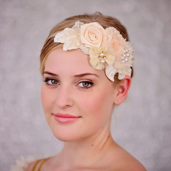 Bridal Peach & Cream Flower Headband