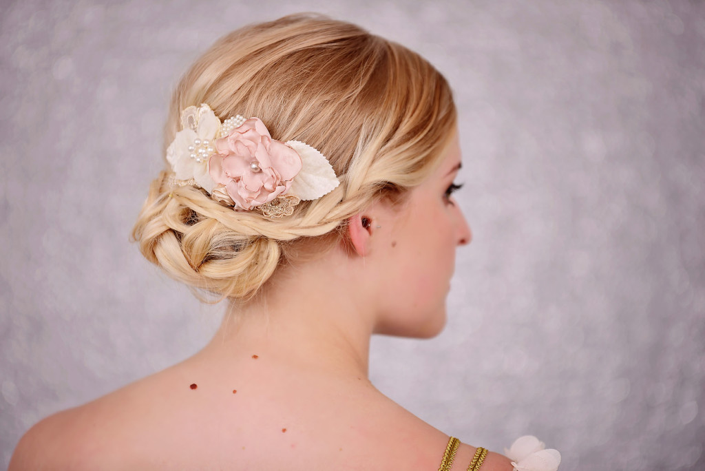 Bridal Pink & Ivory Flower Hair Comb