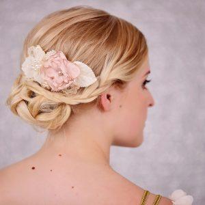 Bridal Pink & Ivory Flower Hair Comb