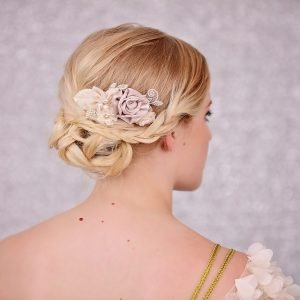 Bridal Flower Hair Comb-Champagne & Peach