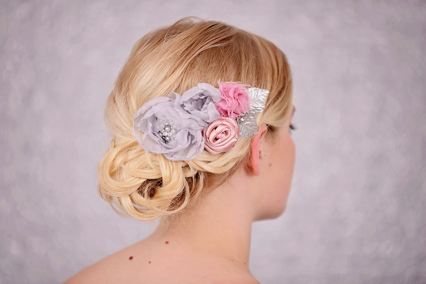 Wedding Flower Hair Comb With Grey Pink Flowers