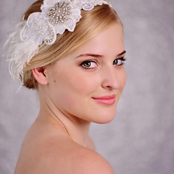Bridal White Lace & Feather Hairpiece