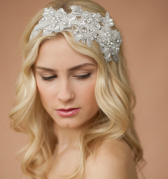 Bridal Lace & Crystal Headband- Ivory