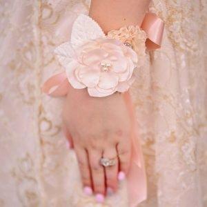 Wrist corsage ,peach