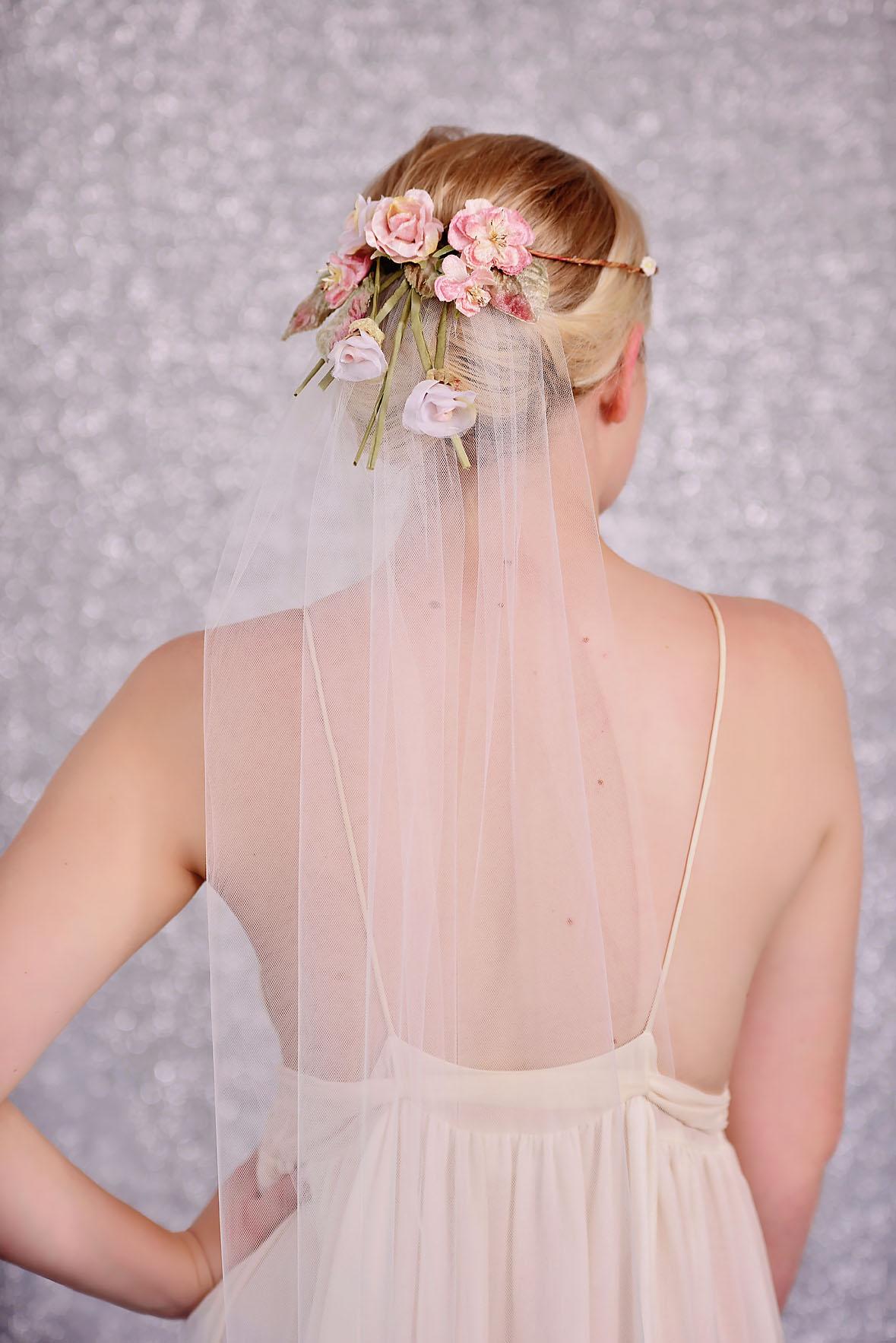 Wedding Veil With Pink Flower Crown