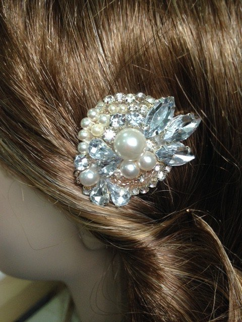 Bridal Hair comb with Pearls, crystal and Beads