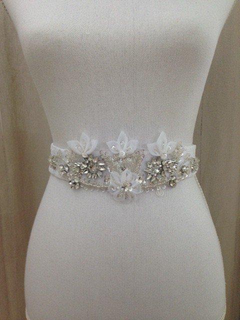 White Wedding Dress Sash