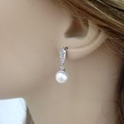 Pearl and Cubic Zirconia Earrings