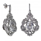 Sterling Silver and CZ Drop Earrings