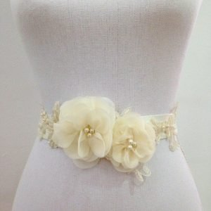 Bridal Flower Sash- Cream
