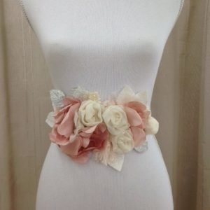 Pink Flower Wedding sash