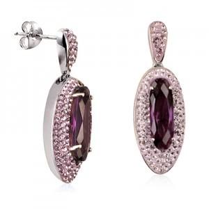 Sterling Silver Amethyst Crystal Drop Earrings
