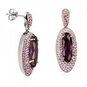 Sterling Silver Amethyst Crystal Drop Earrings