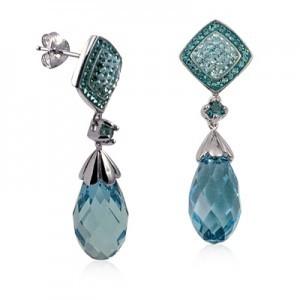 Sterling Silver Aqua Blue Drop Earrings