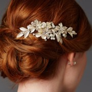 Gold & Pearl Crystal Hair comb