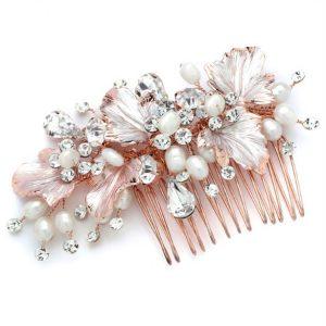 rose gold wedding hair comb