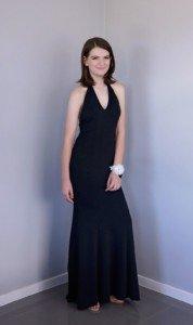 Black Hulter Neck Formal Dress