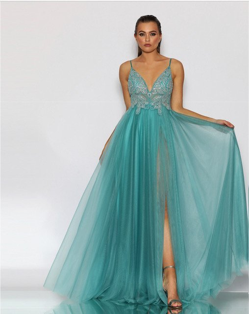 JX2099 Jadore Aqua Fromal Dress